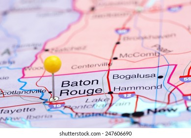 Baton Rouge pinned on a map of USA