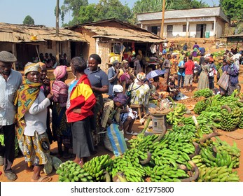 BATOUFAM - CAMEROON / 20.01.2015: A colorful local market place in a small village near to Batoufam City in Cameroon