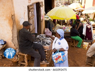 BATOUFAM - CAMEROON / 20.01.2015: A market place in a small village near to Batoufam city in Cameroon