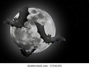 Bats flying in front of a full moon (Halloween decorations).