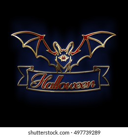 Bats with red eyes. 3D illustration of bat and a white ribbon with Halloween red text. Gold, red glass and enamel texture with a blue back light. Halloween banner with place for your text or pictures.