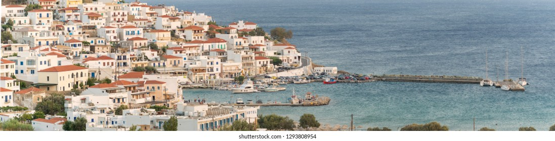 Batsi village at Andros island in Greece. Panoramic view.