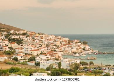 Batsi village at Andros island in Greece. A beautiful touristic destination.