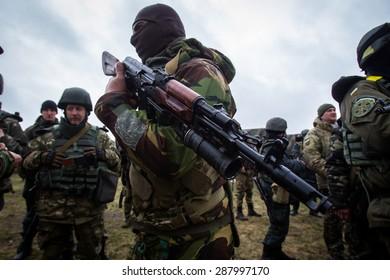 "The battalion ""Donbas"" conducting exercises at Mariupol 01.04.2015. Ukraine. Mariupol"