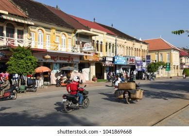 Battambang, Cambodia - 14 January 2018: Fench colonial houses at Battambang on Cambodia