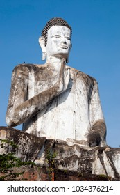 Battambang Cambodia, giant buddha statue at the Ek Phnom buddhist temple