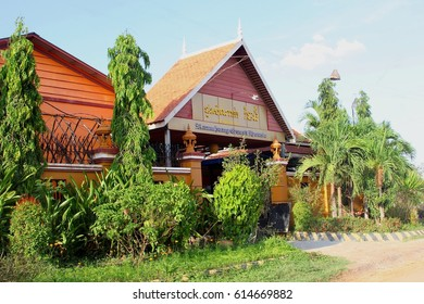 BATTAMBANG, CAMBODIA - March 19. Ramchang guesthouse and resort with swimming pool and nice tropical gardens on March 19, 2017 in Battambang.