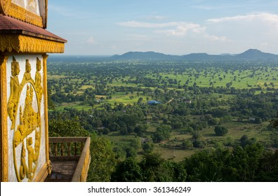 BATTAMBANG, CAMBODIA - NOVEMBER 05, 2015: View from hilltop Phnom Sampeau temple.