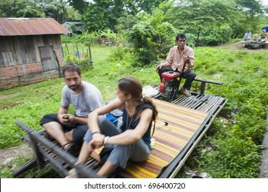 Battambang, Cambodia - September 29, 2013 : Tourist traveling by Bamboo Train Rafting or Norry at Battambang Province, Cambodia