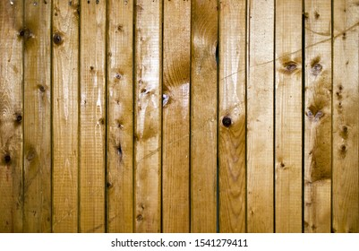 Batten from pine painted with varnish for wood. Texture of an old wooden wall with vertical boards.