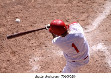 Batter takes a big swing at a fastball