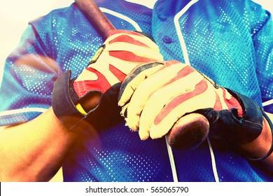 Batter Wearing Gloves