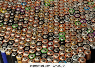 a lot of batteries and accumulators - Shutterstock ID 579702754
