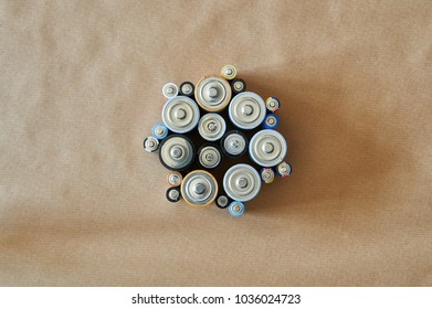 batteries of different sizes grouped