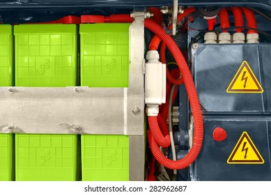 Batteries of an electric bus closeup photo