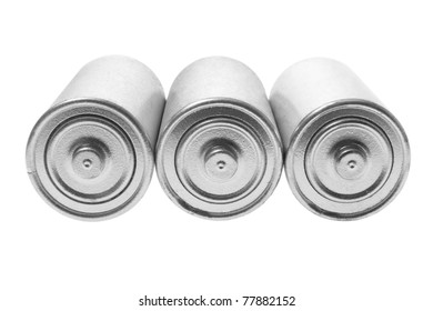 Batteries on Isolated White Background