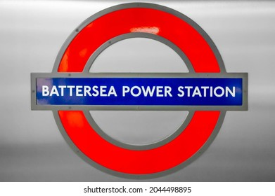 BATTERSEA, LONDON, ENGLAND- 20 September 2021: Battersea Power Station roundel in the station on the first day of the station opening to passengers