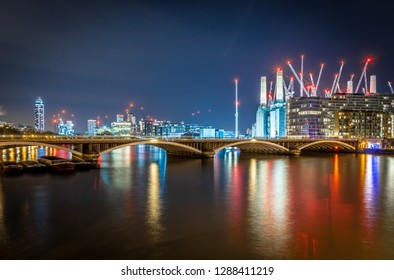 Battersea power station in the night, London