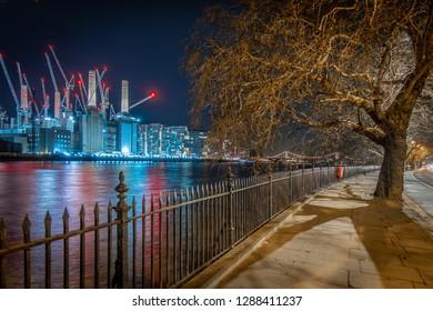 Battersea power station in the night, London