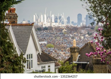 Battersea Power Station on the London skyline viewed from residential suburbs in south west London