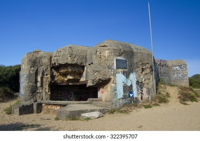 BATTERY ARROS, FRANCE - SEPTEMBER 9, 2015, Abandoned battery Arros - German Atlantic wall (World War 2) in Aquitane, France on 9 September 2015.