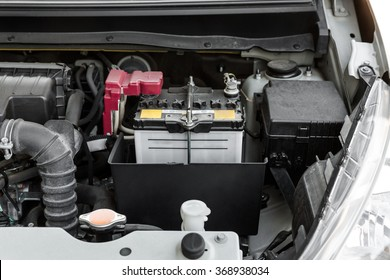 battery of a car, battery car in engine room