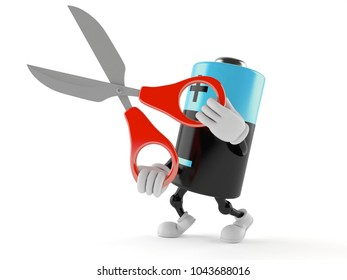 Battery character holding scissors isolated on white background. 3d illustration