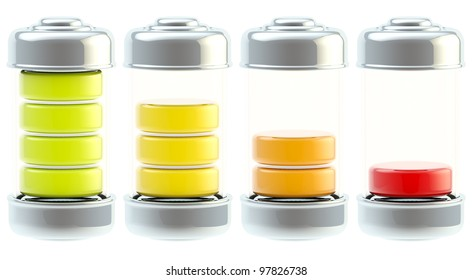 Battery charge icon set: from full to low isolated on white