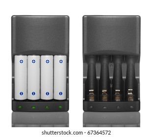 Battery charger with batteries and without batteries isolated on white