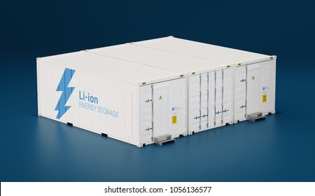 Battery energy storage facility made of shipping containers. 3d rendering.