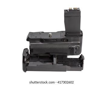 Battery grip for modern DSLR camera isolated on white background