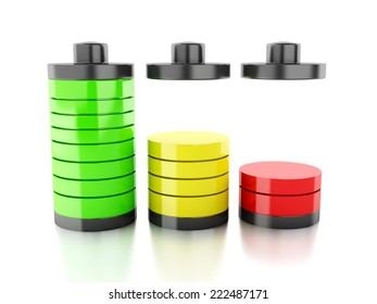 battery icon with colorful charge status on white background