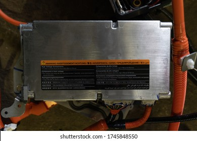 Battery management system from an electric car Nissan Leaf, so-called BMS. High angle view. Service station, service of electric cars. May, 2019. Kiev, Ukraine.