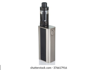 Battery mod or e-cigarette with tank isolated on white background
