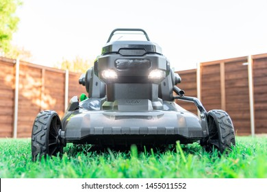 Battery powered 56 volt electric lawnmower for eco lawn care