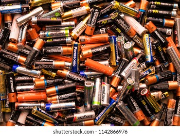 Battery recycling, Sussex, UK, Europe, July 2018 – editorial