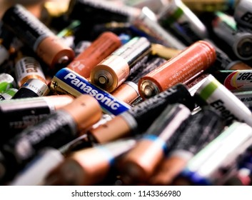 Battery recycling, Sussex, UK, Europe, July 2018