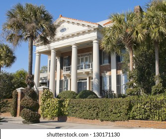 A Battery Romanesque - Victorian House style of architecture built in the eighteenth century in Charleston, South Carolina.