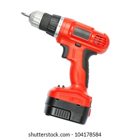 Battery screwdriver or drill isolated over white background
