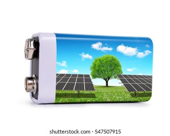 Battery with solar panels isolated on white background. The concept of sustainable resources.