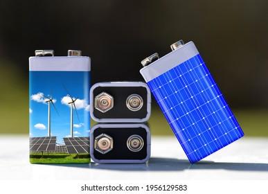 Batterien mit Solarpaneelen und Windturbinen. Das Konzept der nachhaltigen Ressourcen oder der grünen Energie.