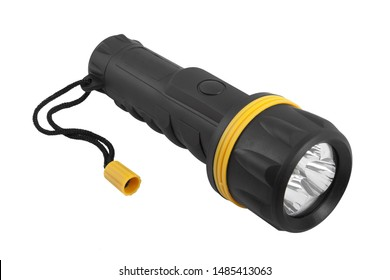 battery-powered flashlight on a white background