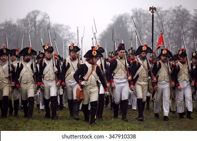 The Battle of Austerlitz, also known as the Battle of the Three Emperors, was one of Napoleon's greatest victories. On 2. 12. 1805.  28.11.2009 Slavkov,  Czech Rep battle reconstruction.