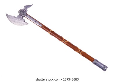 Battle axe displayed by diagonal, isolated on white background.