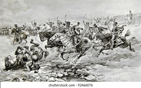 """Battle of Borodino. Illustration by artist A.P. Apsit from book """"Leo Tolstoy """"War and peace"""", publisher - """"Partnership Sytin"""", Moscow, Russia, 1914."""