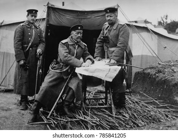 Battle of Catalca, , First Balkan War, Nov. 16-17, 1912 and Feb. 3- April 3, 1913. Bulgarian General Mihail Savov (seated) ordered an attack on Ottoman defenses at the Chataldja line, but were defeate