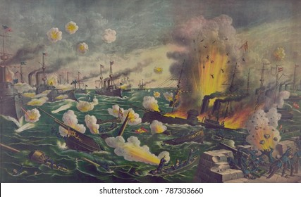 The Battle of Manila Bay, was the first fighting of the Spanish American war. May 1, 1898. Passing back and forth in front of the Spanish fleet, the Americans bombarded the Spanish, sinking all of the