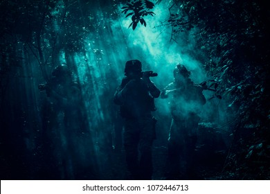 Battle of the military in the war. Military troops in the smoke