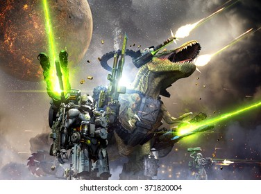 Battle Rex and a team of commandos engaging an unknown enemy force on a planet in another galaxy.