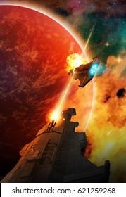 Battle of spaceships in distant hostile space
